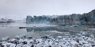 Buzulun Çökmesiyle Oluşan Dev Dalgadan Son Anda Kurtulan Turistler