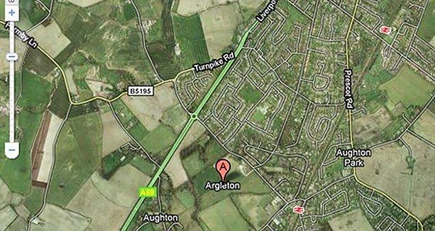 6. Batı Lancashire, İngiltere'de var olmayan bir şehir Google Earth ve Google Maps'te görünüyor. Bu şehrin adı Argleton.