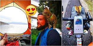 Bisikletiyle Dünyayı Seyahati Sırasında Karşılaştığı Minik Kediyle Dost Olan ve Pedal Çevirmeye Onunla Devam Eden Adam