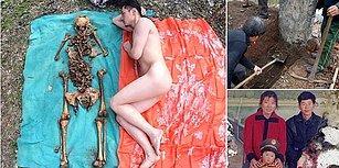 Babasının Mezarından Çıkarttığı Kemiklerle Çırılçıplak Fotoğraflar Çektiren Çinli Sanatçı
