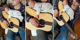 Bebeğini Gitarın Üzerinde, Şarkı Söyleyerek Uyutan Babadan Gözlerden Kalpler Fışkırtacak Güzellikte Video!