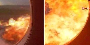 Rusya'da Yanan Uçaktaki Korkunç Anlar Bir Yolcu Tarafından Anbean Kaydedildi!