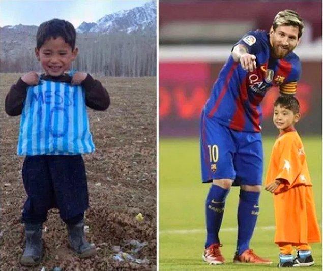 3. Plastik poşetle kendine Messi forması yapan Afgan çocuk idolüyle buluşmuş!