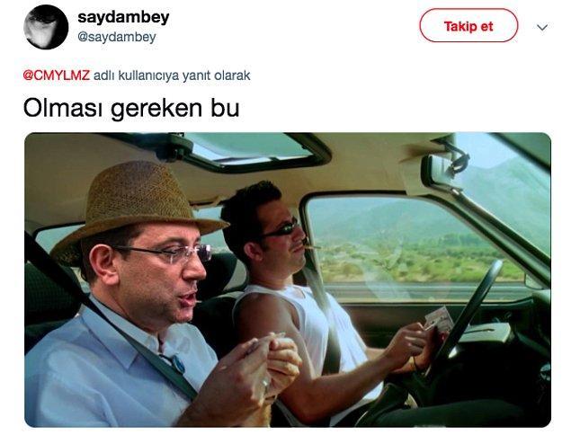 Yılmaz'ın bu tweetine takipçilerinden biri de Ekrem İmamoğlu montajı yaptı :)