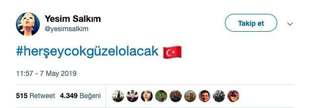 Derken, Yeşim Salkım'dan da destek tweeti geldi!