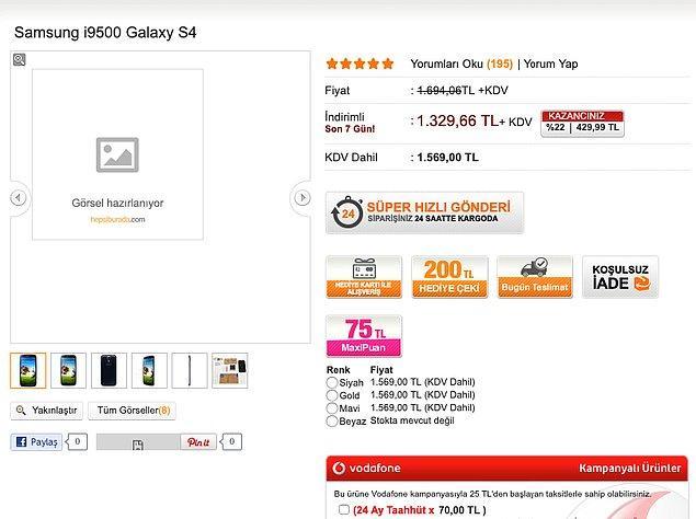 2014 Samsung S4 (16 GB): 1569 TL KDV dahil