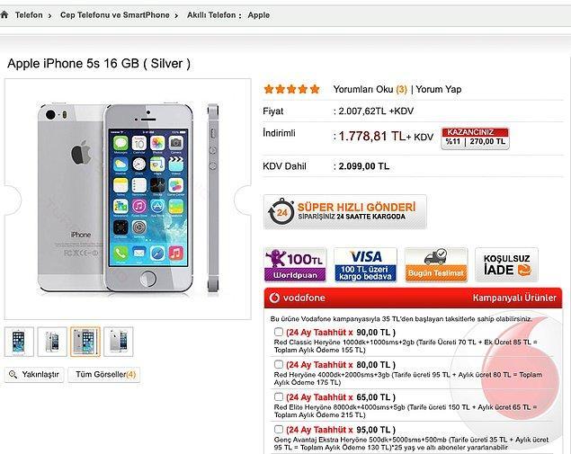2014 iPhone 5S (16GB): 2099 TL KDV dahil
