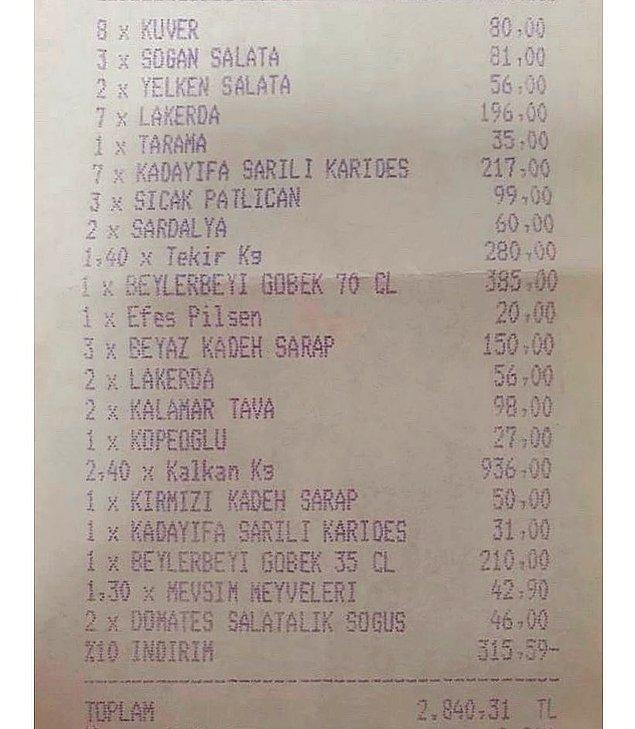 4. Yeniköy Yelken Restoran'ın domates ve salatalık için 46 TL alması ilginç bir detay olmuş.