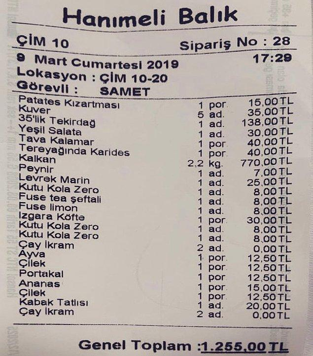 9. Salata 30 TL, Kalamar ve Karides 40 TL pek mantıklı görünmüyor. Meyvelerin tek tek ücretlendirmesi ise ayrı bir konu.