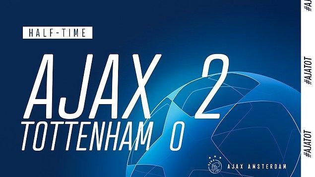 Rövanş maçında ilk yarıyı 2-0 önde bitiren yine Ajax'dı...