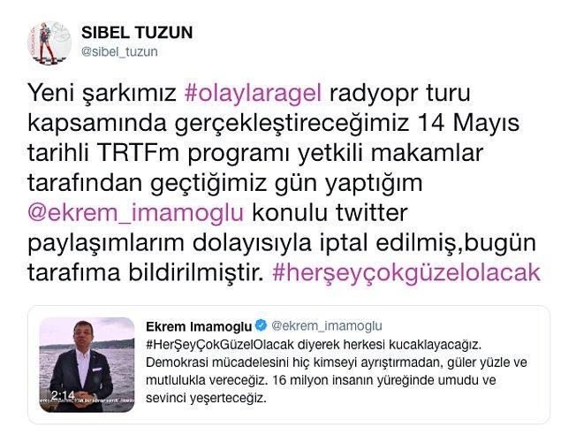 Ancak dün bir paylaşım yaptı ve yeni albüm çalışmaları için 14 Mayıs'ta katılacağı programın TRT FM tarafından iptal edildiğini duyurdu.