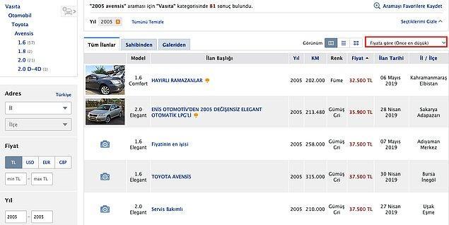 Bugün 14 yaşında olan araç için ikinci el araç satış platformlarına baktığımızda en ucuz fiyatın  32.500 TL olduğunu görüyoruz.