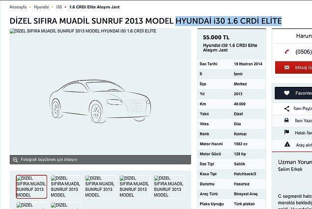Yine 2014 yılında henüz 1 yaşını doldurmamış bir Hyundai i30 için ortalama 55 - 60 bin TL'yi gözden çıkarmanız gerekiyordu.
