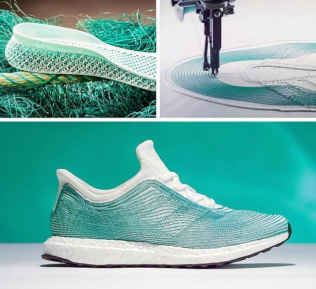 Okyanusta bulunan balık ağları kullanılarak 3D ile yapılmış çevre dostu Adidas ayakkabılar.