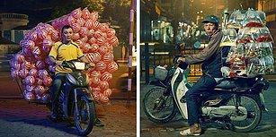 Fotoğrafçı Jon Enoch'un Gözünden Motosikletlerle Kapasitelerinin Çok Üzerinde Yükler Taşıyan Kargocular