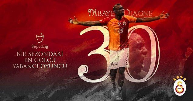 Mbaye Diagne, Süper Lig'de bitime 2 hafta kala 30 gole ulaştı ve Bafetimbi Gomis'e ait olan bir sezonda en çok gol atan yabancı oyuncu unvanını ele geçirdi