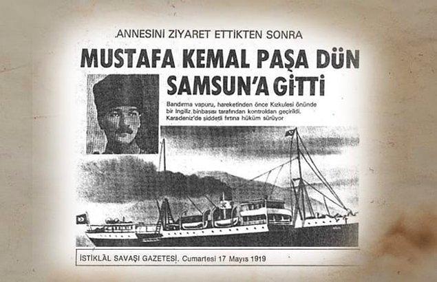 1919 - Mustafa Kemal Paşa, Türk Kurtuluş Savaşı'nı başlatmak üzere İstanbul'dan Samsun'a doğru yola çıktı.