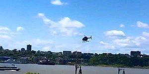 Piste İnmek İsterken Nehre Düşen Helikopterin Anbean Düşme Anları