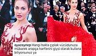 Meryem Uzerli'nin Cannes Film Festivali'nde Giydiği Derin Yırtmaçlı Elbisesinde Arapça Harfler Olduğu İddia Edildi,  Ortalık Karıştı!