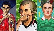 Ünlü Sanatçıların Ülkelerinin Formalarıyla Resmedildikleri Harika Çizimler