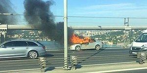 15 Temmuz Şehitler Köprüsü'nde Bir Vatandaş Kendini ve Aracını Ateşe Verip, Boğaza Atlayarak İntihar Etti