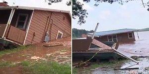 ABD'yi Vuran Şiddetli Fırtına Sonrası Yaşanan Sel Baskınında Bir Evin Yok Olduğu Korkunç Anlar