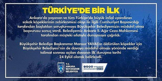 8. Ankara'da sokak köpeklerinin zehirlenmesine ilişkin davaya müdahil olunmasını isteyen Mansur Yavaş, bir hukukçu olarak süreci yakından takip edeceğini ifade etti; belediyenin katılım başvurusu da kabul edildi.