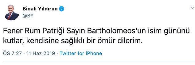 Gelen tepkilerin ardından tweeti silen Yıldırım, bu paylaşımı yaptı