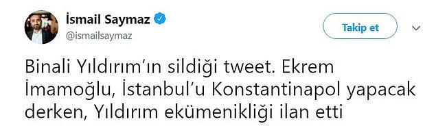 Yıldırım'ın, Türkiye'nin tanımadığı 'ekümenik' sıfatını kullanması sosyal medyanın gündemindeydi...
