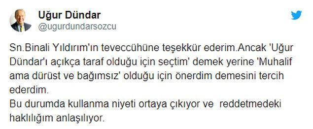 """Yıldırım'ın bu açıklaması sonrası Dündar'da cevap geldi: """"Niyeti ortaya çıktı"""""""