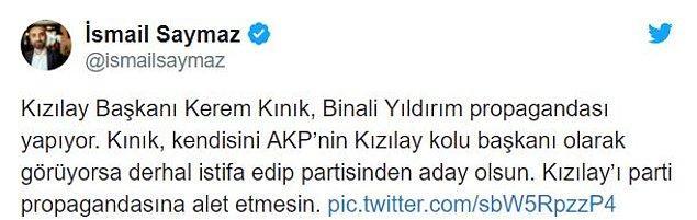 Kızılay Başkanı Kınık'ın açık siyasi pozisyon alması sosyal medyada eleştirildi...