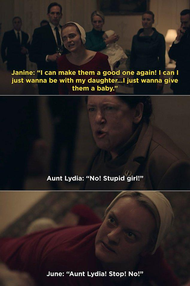 5. Kızıyla kalmak isteyince masum Janine'i döven Lydia Teyze, kontrolden çıkmaya devam etti.