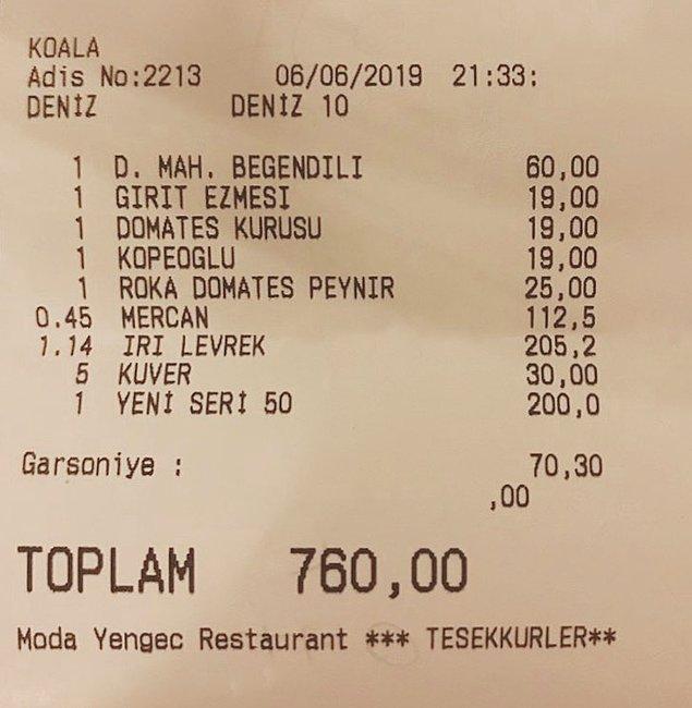 5. Çeşme: Moda Yengeç Restoran'ın hesabında hem garsoniye hem kuver olması müşteriyi mutsuz eden detaylardan.