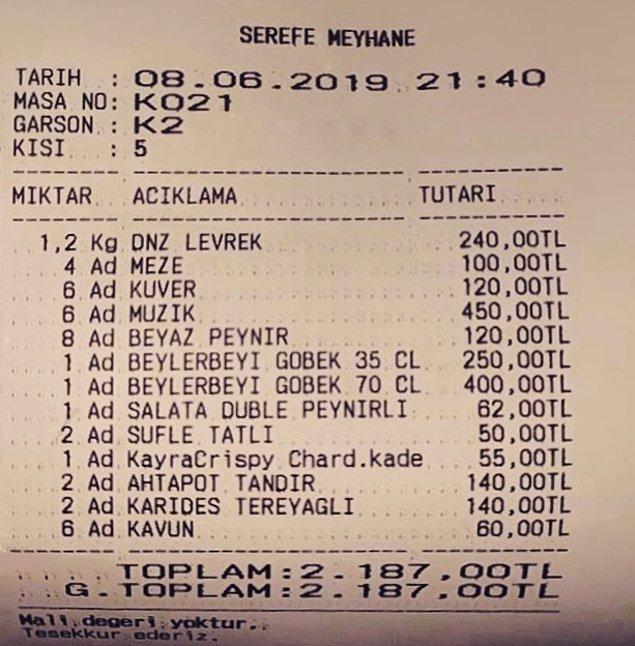 11. Alaçatı: Şerefe Meyhane'ye giderseniz kişi başı 75 TL müzik dinleme parası vereceğinizi de bu hesaptan görebiliyorsunuz.