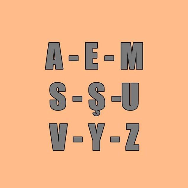 Adının içinde bu harflerden biri var mı?
