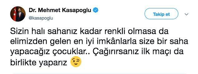 Ardından bir destek de Gençlik ve Spor Bakanı Mehmet Kasapoğlu'ndan geldi.