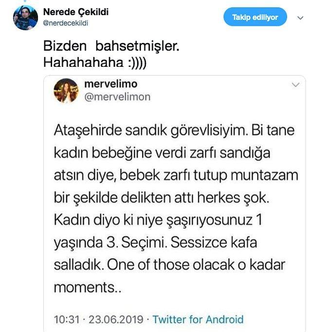Sandık görevlisi arkadaşın attığı twitten de aile böyle haberdar oldu işte :)