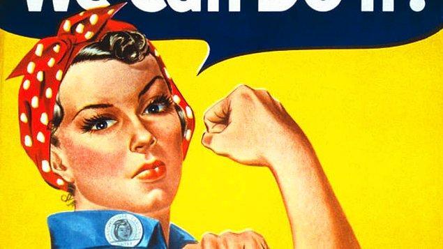 """Sarı fonun üstünde mavi işçi gömleği ve kırmızı puantiyeli bandanasıyla size cesaret verircesine """"Yapabiliriz!"""" diyen bu kadın kimdi acaba? İşte bu hikaye çok ilginç."""