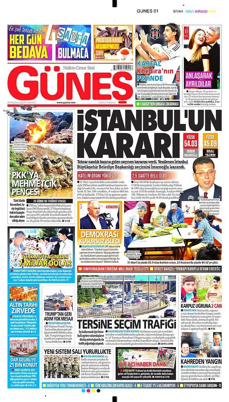 """Güneş de hükümete yakınlığı ile bilinen pek çok gazete gibi """"İstanbul'un Kararı"""" başlığını seçti."""