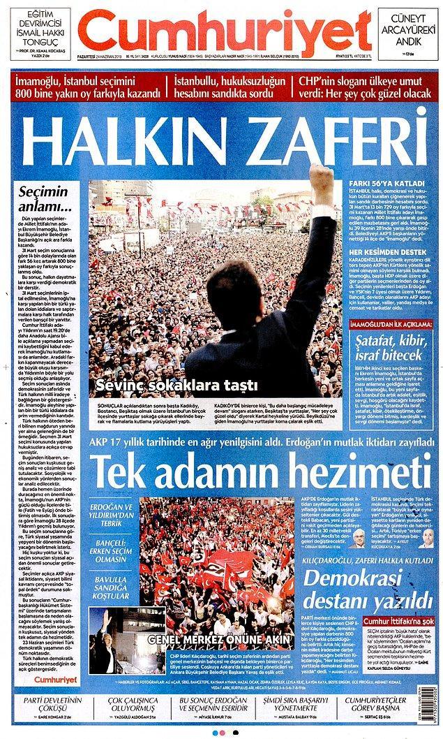 """Cumhuriyet """"Halkın Zaferi"""" dedi."""