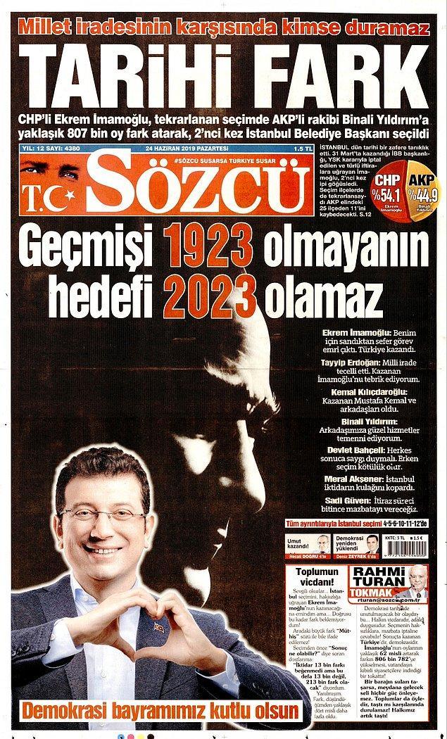 """Sözcü gazetesi """"Tarihi Fark"""" dedi ve ekledi: """"Geçmişi 1923 olmayanın hedefi 2023 olamaz"""""""