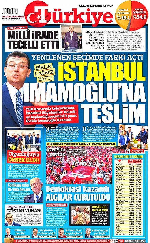 """Türkiye gazetesi """"İstanbul İmamoğlu'na Teslim"""" dedi ve farkın 9 puan olduğunun altını çizdi."""