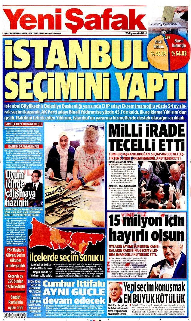 """Yeni Şafak da """"İstanbul Seçimini Yaptı"""" başlığını tercih etti."""