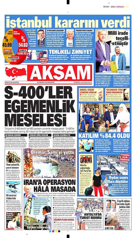 Akşam gazetesi Türkiye'nin gündemindeki İstanbul seçimini manşete taşımadı, sürmanşetten yer verdi.