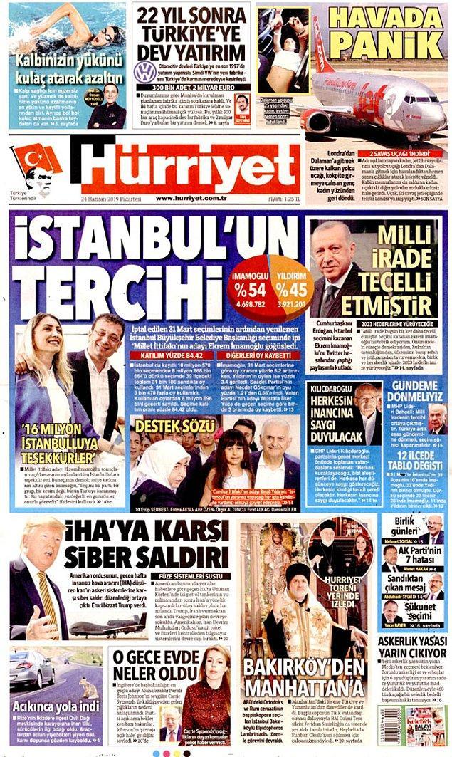 """Bir dönem Türk basının """"amiral gemisi"""" olarak adlandırılan Hürriyet """"İstanbul'un Tercihi"""" manşetini attı."""