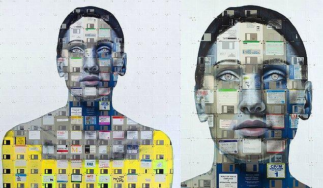 Halkın sağladığı atık bilgisayar disklerinden yaptığı portre çalışmaları.