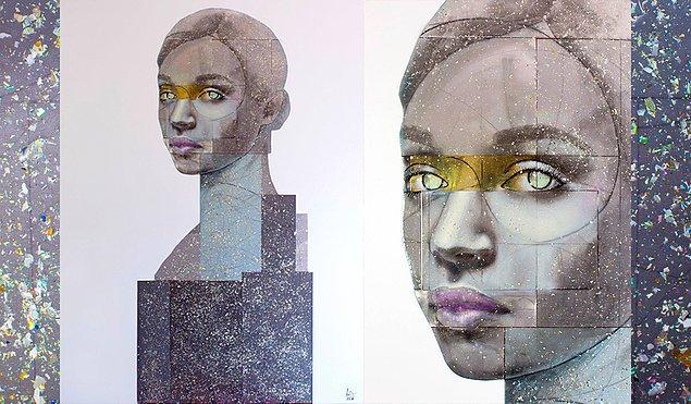 """Ahşap üzerinde ezilmiş kompakt diskler, yağlı boya ve reçine ile birlikte oluşturduğu """"İnsan 2"""" adlı tablosu."""