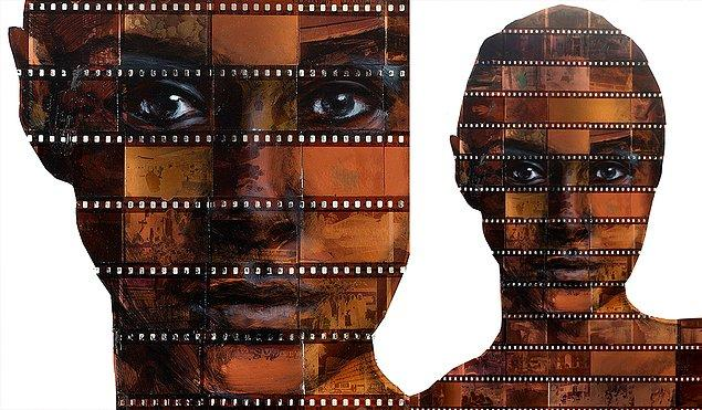 Nick Gentry aynı zamanda modası geçmiş medyayı yeniden yapılandırmak için, kesilmiş film negatiflerini boyayarak yeni bir portre serisi yarattı.