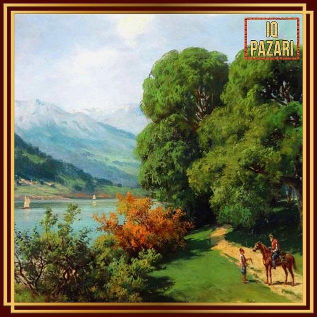 12. Göl Kenarı tablosunu gördüğünüz Hoca Ali Rıza, 1858 – 1930 yılları arasında yaşamıştı.