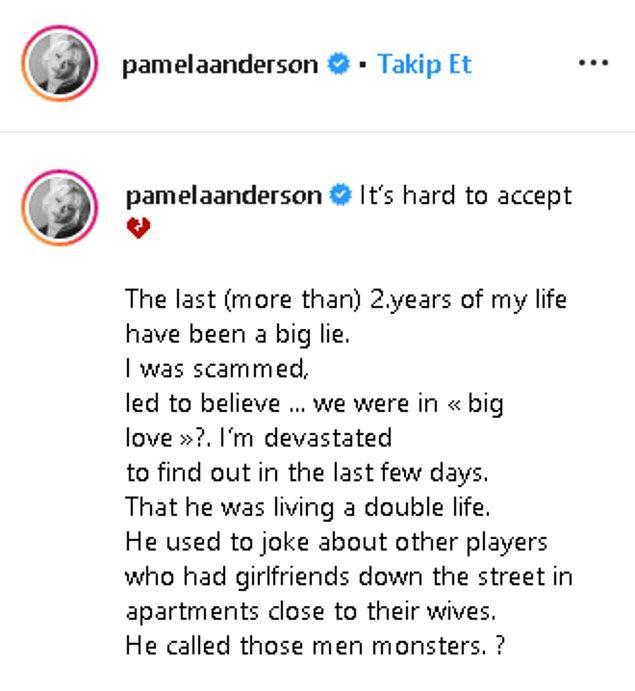 Fotoğrafın altındaki kırık kalp ifadesinin yanında Pamela şunları da dile getirdi: